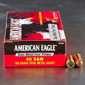 50rds – 40 S&W Federal American Eagle Indoor Range Training 180gr. TMJ Ammo