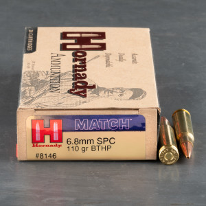 20rds - 6.8 SPC Hornady 110gr. Boattail Hollow Point Ammo