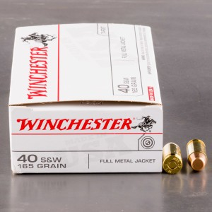 50rds - 40 S&W Winchester USA 165gr. FMJ Ammo