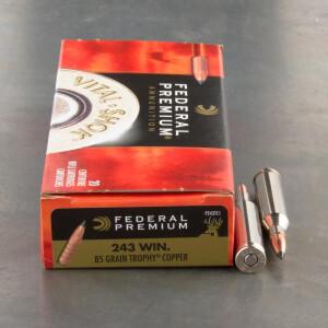 20rds - 243 Win Federal Vital-Shok 85gr. Trophy Copper Polymer Tip Ammo