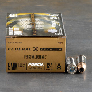 200rds – 9mm Federal Punch 124gr. JHP Ammo