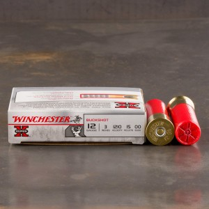 "5rds - 12ga Winchester Super-X 3"" 15 Pell. 00 Magnum Buckshot Ammo"