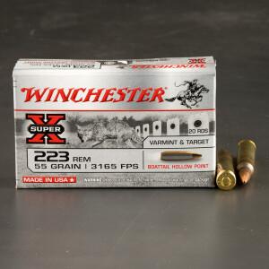 20rds – 223 Rem Winchester Super-X 55gr. BTHP Ammo