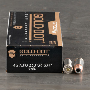 50rds – 45 ACP Speer LE Gold Dot 230gr. JHP Ammo