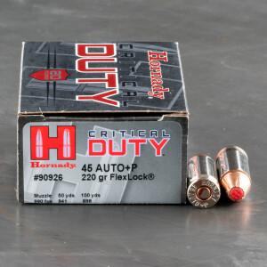 200rds – 45 ACP +P Hornady Critical Duty 220gr. FlexLock Ammo