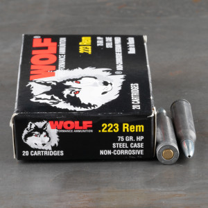 1000rds – 223 Rem Wolf Performance 75gr. HP Ammo