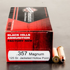 50rds - 357 Mag Black Hills 125gr. Jacketed Hollow Point Ammo
