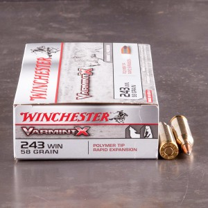 20rds – 243 Win Winchester Varmint X 58gr. Polymer Tip Ammo