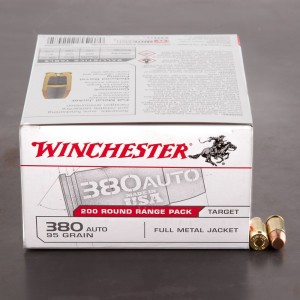 200rds – 380 Auto Winchester USA 95gr. FMJ Ammo