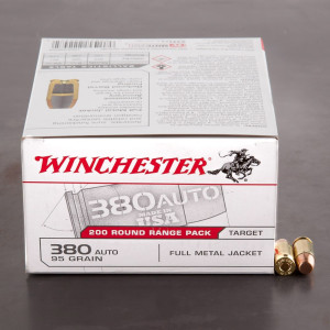 1000rds – 380 Auto Winchester 95gr. FMJ Ammo