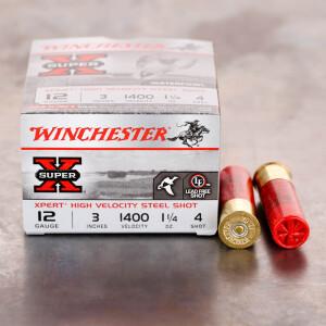 """25rds – 12 Gauge Winchester Super X 3"""" 1-1/4oz. #4 Xpert HV Steel Shot Ammo"""