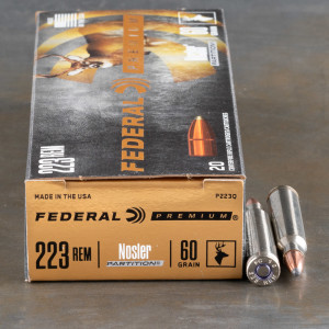 20rds - .223 Federal Vital Shok 60gr. Nosler Partition Ammo