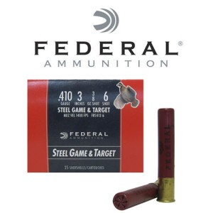 "25rds - 410 Gauge Federal Steel Game & Target 3"" 3/8oz. #6 Shot Ammo"