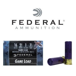 "25rds - 16 Gauge Federal Game-Shok 2 3/4"" 2 1/2 Dram 1oz. #7 1/2 Shot Ammo"