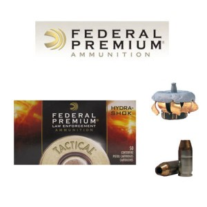 50rds - .380 Auto Federal LE Tactical Hydra-Shok 90gr. HP Ammo