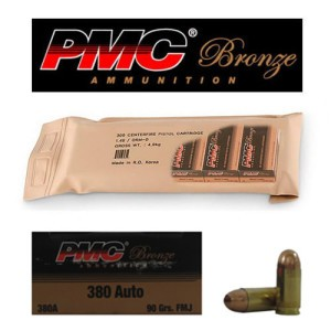 300rds - 380 Auto PMC 90gr. FMJ Sealed Battle Pack Ammo