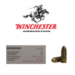 50rds - 9x21mm Winchester 124gr. FMJ Ammo