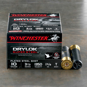 "25rds - 10 Gauge Winchester Drylok Super Steel Magnum 3 1/2"" 1 5/8 oz. #T Shot Ammo"