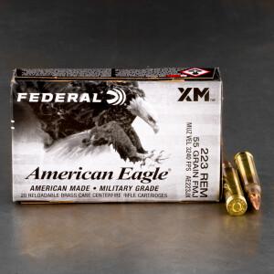20rds – 223 Rem Federal American Eagle 55gr. FMJBT Ammo