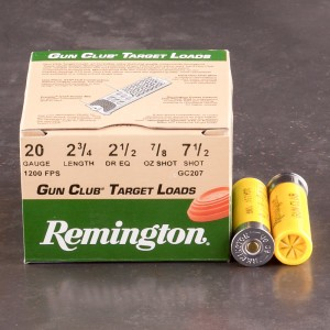 "25rds - 20 Gauge Remington Gun Club 2 3/4"" 7/8oz. #7 1/2 Shot Ammo"