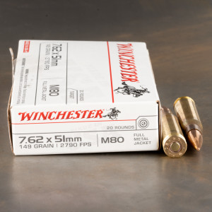 20rds – 7.62x51 Winchester 149gr. FMJ M80 Ammo