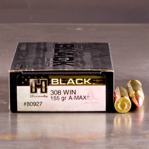 20rds – 308 Win Hornady BLACK 155gr. A-MAX Ammo