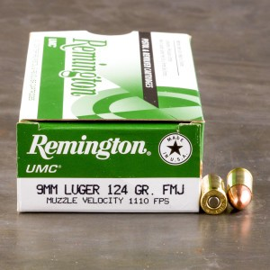 50rds - 9mm Remington  UMC 124gr. FMJ Ammo