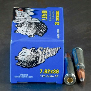 20rds - 7.62x39 Silver Bear 125gr. Soft Point Ammo