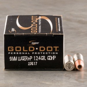 20rds - 9mm Speer Gold Dot 124gr. +P HP Ammo