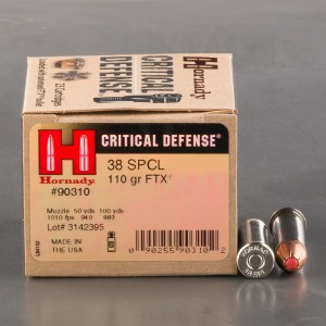 250rds - 38 Special Hornady Critical Defense 110gr. FTX Ammo