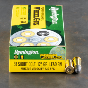 50rds - 38 Short Colt Remington Performance Wheelgun 125gr. LRN Ammo