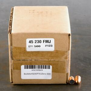 """500pcs - 45 Cal .451"""" Dia Zero 230gr. FMJ Bullets"""