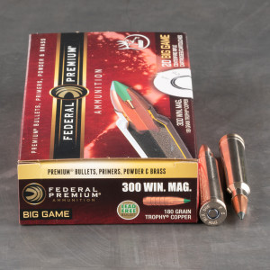 20rds – 300 Win Mag Federal 180gr. Trophy Copper Ammo