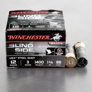 "250rds - 12 Ga. Winchester Elite Blind Side 3"" 1 3/8oz. BB Hex Steel Shot Ammo"