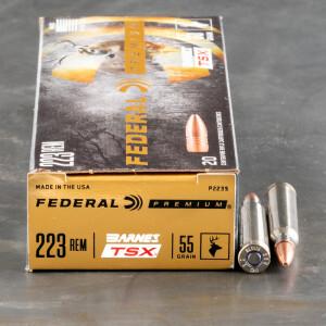 20rds – 223 Rem Federal 55gr. Barnes TSX Ammo