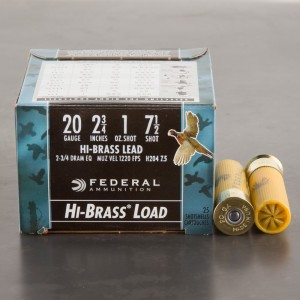 "25rds - 20 Gauge Federal Game Shok Hi-Brass 2 3/4"" 1oz. #7 1/2 Shot Ammo"