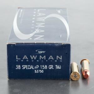 50rds - 38 Special Speer Lawman 158gr. +P TMJ Ammo