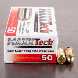 1000rds – 9mm MAXXTech 115gr. FMJ Ammo