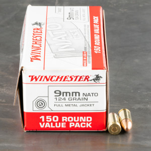 150rds – 9mm NATO Winchester USA 124gr. FMJ Ammo