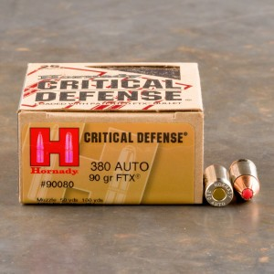 25rds - .380 Auto Hornady Critical Defense 90gr. FTX Hollow Point Ammo