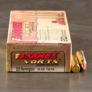 20rds – 223 Rem Barnes VOR-TX 55gr. TSX FB Ammo