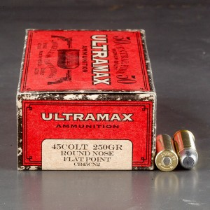 50rds - 45 Long Colt Ultramax 250gr. Round Nose Flat Point Ammo