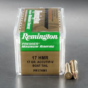 50rds - 17 HMR Remington Premier 17gr. AccuTip V-Max Boat Tail Ammo