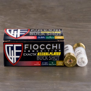 "10rds - 12 Gauge Fiocchi High Velocity 2 3/4"" 9 Pellet Nickel Plated 00 Buckshot Ammo"