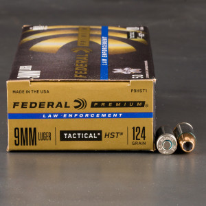 50rds - 9mm Federal LE Tactical HST 124gr. HP Ammo