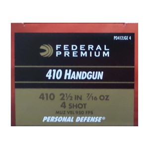"200rds – 410 Bore Federal Premium Personal Defense 2-1/2"" 7/16 oz. #4 Shot Ammo"