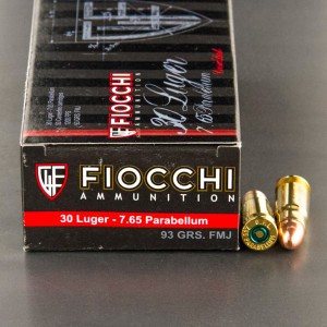 50rds - 30 Luger Fiocchi 93gr. FMJ Ammo
