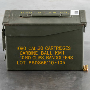 1080rds – 30 Carbine Korean Military Surplus 110gr. FMJ Ammo in Ammo Can