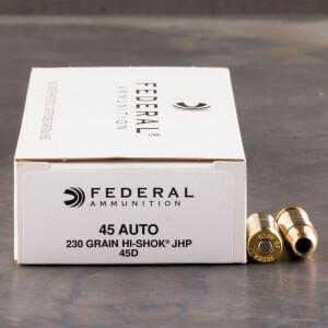 50rds - 45 ACP Federal LE Hi-Shok 230gr. Hollow Point Ammo