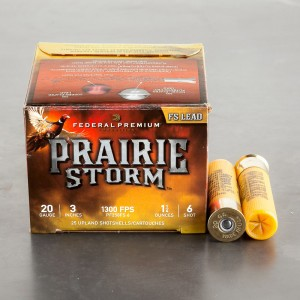"25rds – 20 Gauge Federal Prairie Storm FS Lead 3"" 1-1/4oz. #6 Shot Ammo"